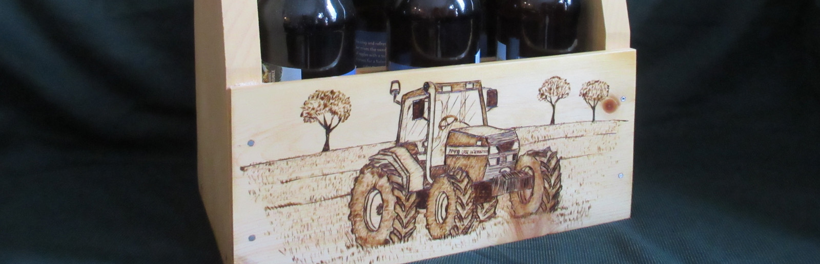 Tractor Pyrography on Bottle Carrier custom work