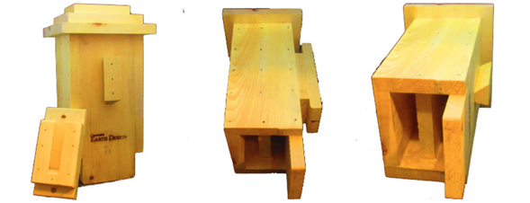 Small Bat House Knotty White Pine side, bracket and roof picture